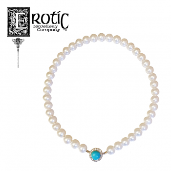 Pearl Strand with Turquoise and Diamond Clasp