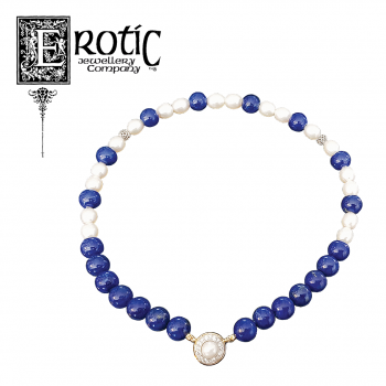 Lapis and Pearl Strand with Diamond and Pearl Strand