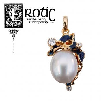 Blue Enamel Pearl Pendant