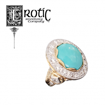 Turquoise and Diamond Ring with gold and platinum band