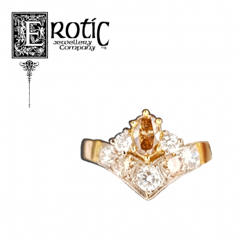 Diamond Ladies Dress Ring with gold band with oval cognac diamond