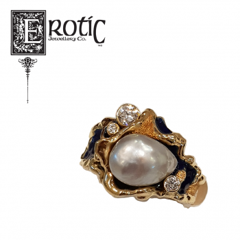 Blue Enamel and Pearl Dress Ring featuring gold band and diamonds