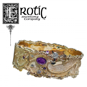 9ct yellow gold, amethyst and diamond molten edge hinged bangle