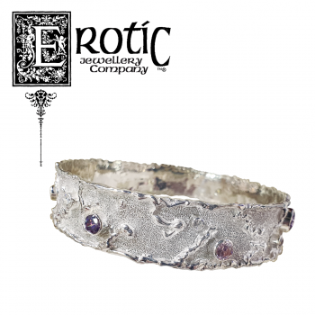 Silver Molten Edge Bangle with pink, purple and white Cz stones by Paul Amey