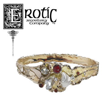 9ct Gold, Garnet and Pearl Molten Edge Hinged Bangle by Paul Amey