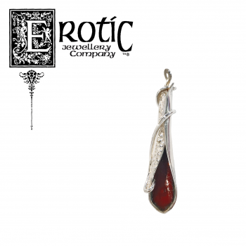 Silver twisted leaf pendant with red enamel handmade by Paul Amey